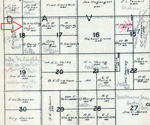 Albert Schlichting land map Davison Township NE 1945