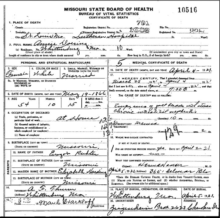Anna Doering death certificate