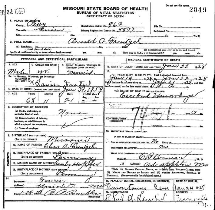 Arno Frentzel death certificate