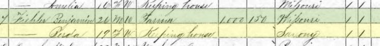 Benjamin Fiehler 1870 census Brazeau Township MO
