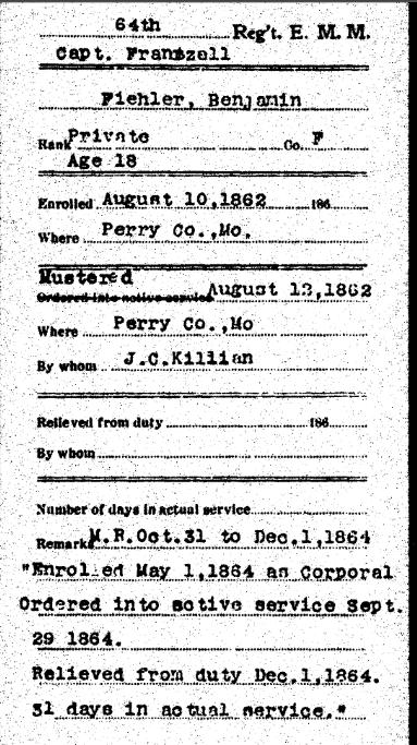 Benjamin Fiehler Civil War record 1