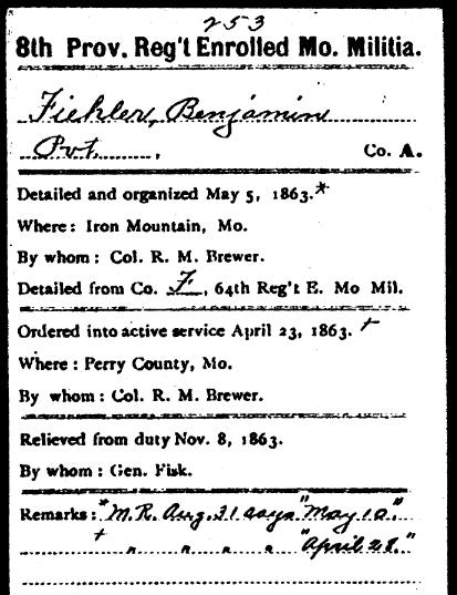 Benjamin Fiehler Civil War record 2