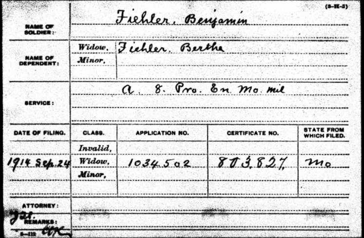 Bertha Fiehler Civil War Pension record