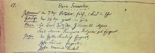 Clara Fritsche baptism record Immanuel Altenburg MO