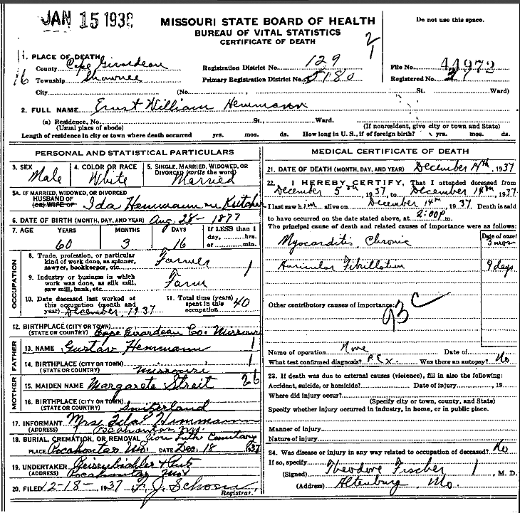Ernst Hemmann death certificate