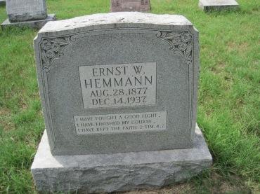 Ernst Hemmann gravestone Zion Shawneetown MO
