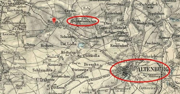 Fitchtenhainichen - Altenburg - Map