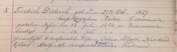 Friedrich Dietrich death record Christ Jacob IL