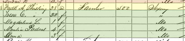 Friedrich Schilling 1860 census Brazeau Township MO
