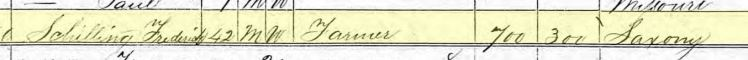 Friedrich Schilling 1870 census Brazeau Towship MO