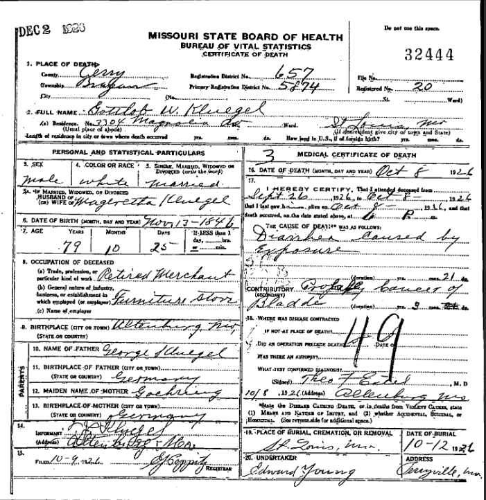 Gottlob Kluegel death certificate