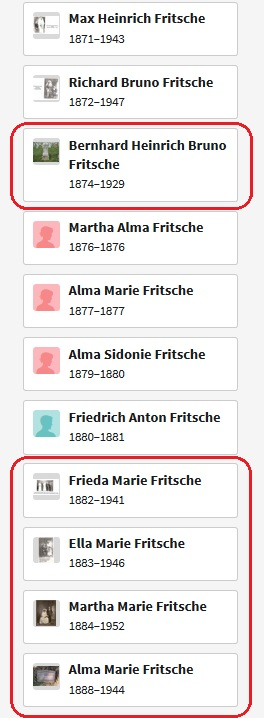 Heinrich and Bertha Fritsche children list 1890 passengers