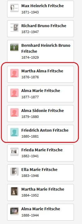 Heinrich and Bertha Fritsche children list died in Germany
