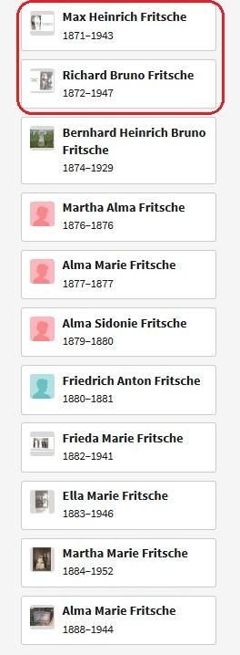 Heinrich and Bertha Fritsche children list Max and Richard