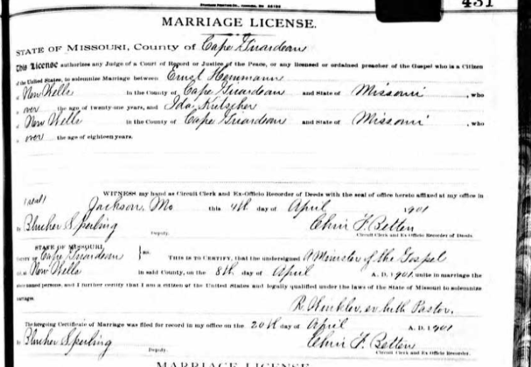 Hemmann Kutscher marriage license