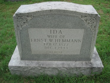 Ida Hemmann gravestone Zion Shawneetown MO