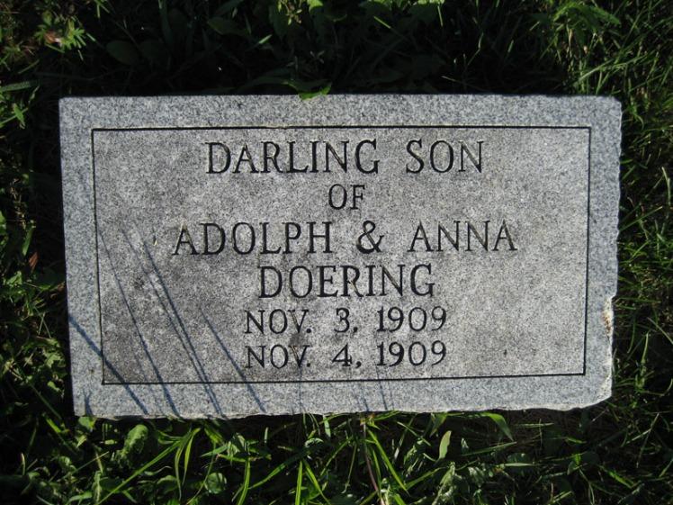Infant son Doering gravestone St. Paul's Wittenberg MO