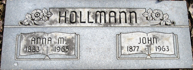 John and Anna Hollmann gravestone Restlawn Coffeyville KS