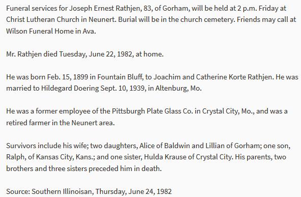 Joseph Rathjen obituary