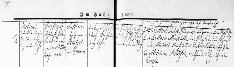 Julius Kirmse - Birth Record 6 Feb 1835 cropped