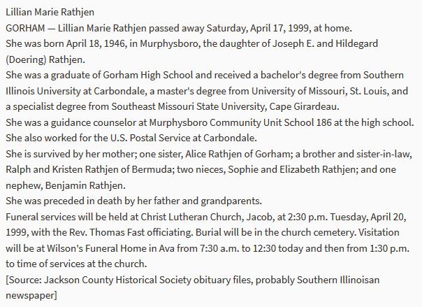 Lillian Rathjen obituary