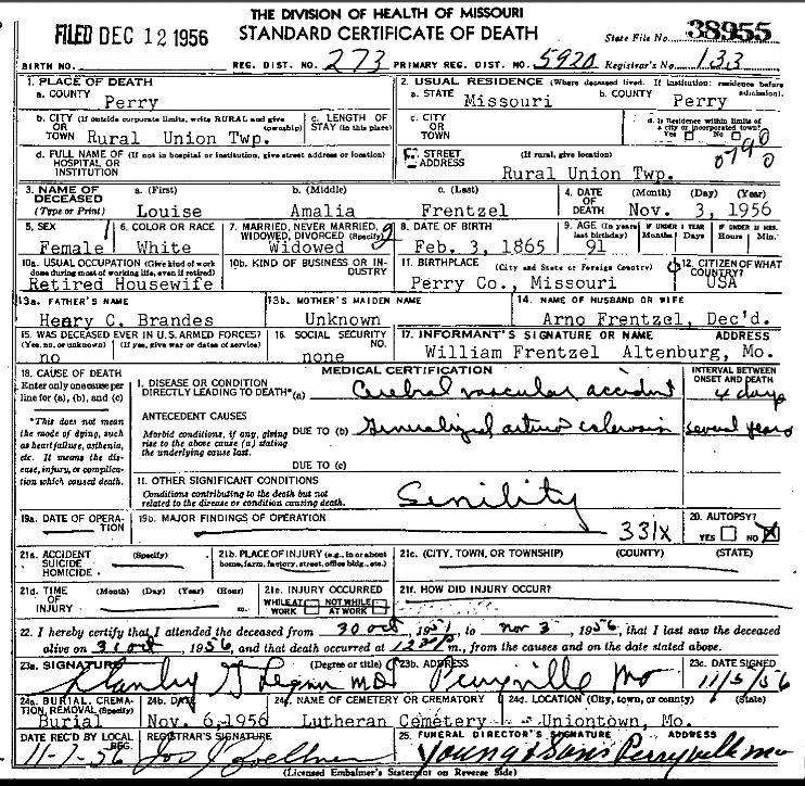 Louise Frentzel death certificate