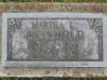 Martha Weinhold gravestone Concordia Frohna MO