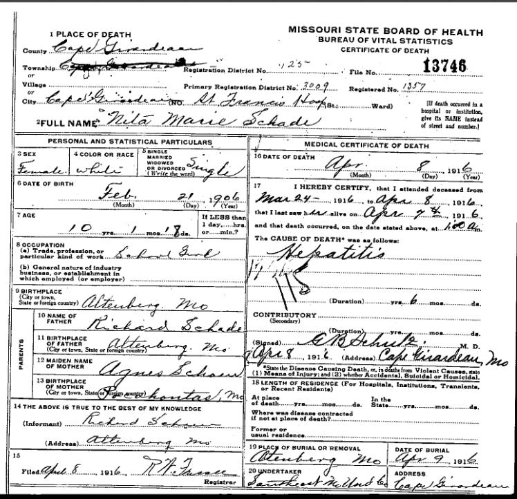 Nita Schade death certificate