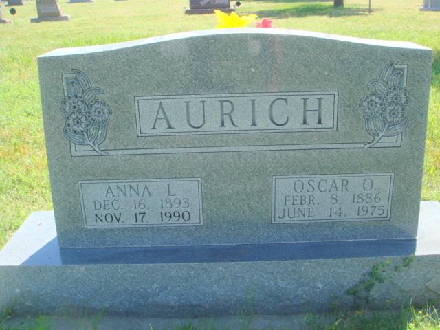 Oscar and Anna Aurich gravestone Dalton NE