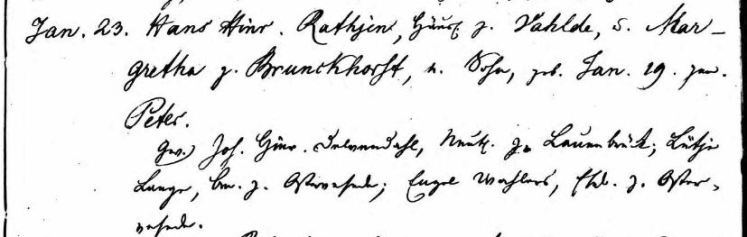 Peter Rathjen baptism record Scheessel Hannover Germany 1831