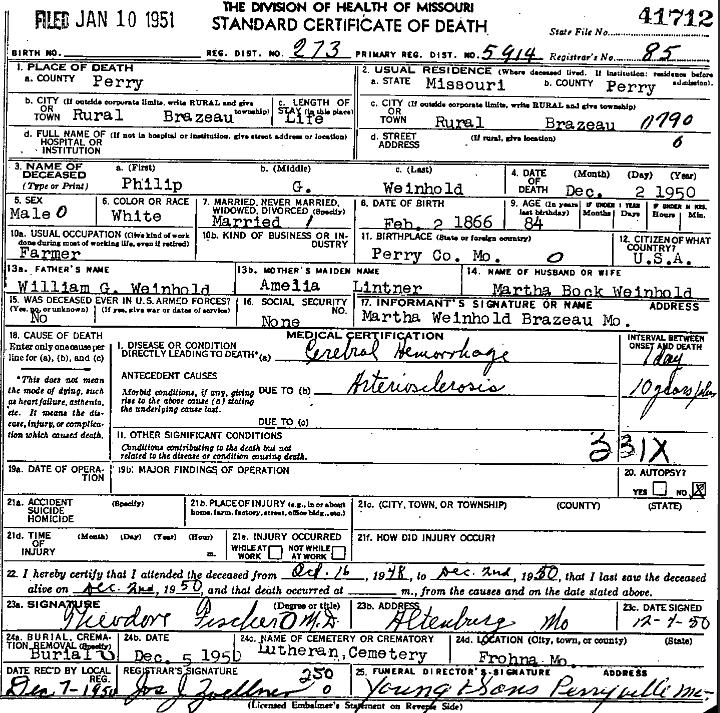 Phillip Weinhold death certificate