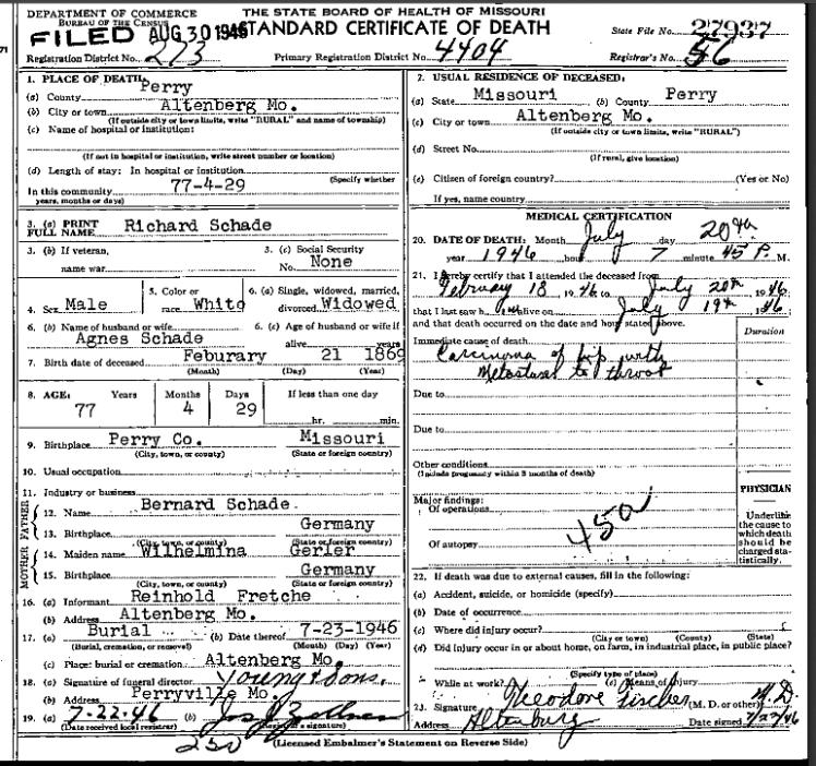 Richard Schade death certificate
