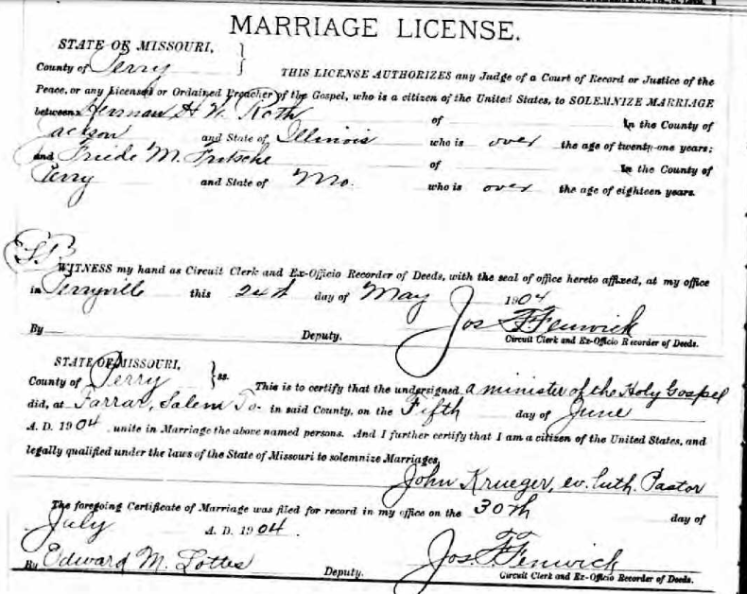 Roth Fritsche marriage license