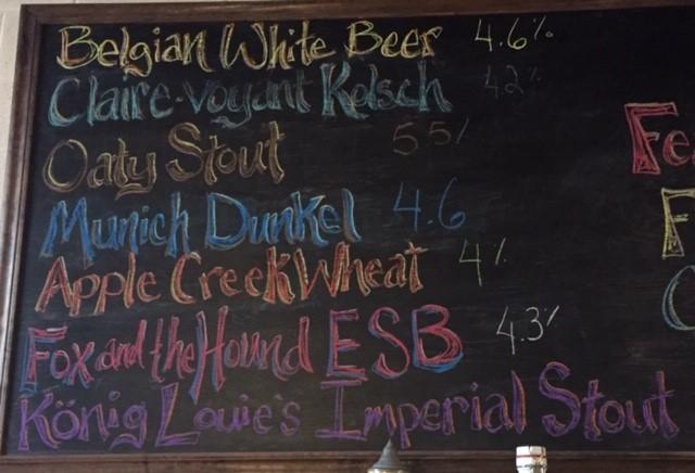 Saxony Hills beer board
