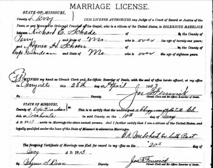 Schade Schoen marriage license