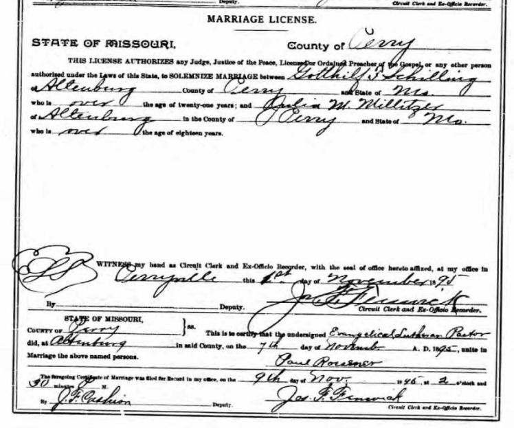 Schilling Militzer marriage license