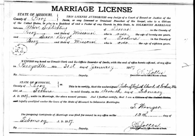 Schlichting Bergt marriage license