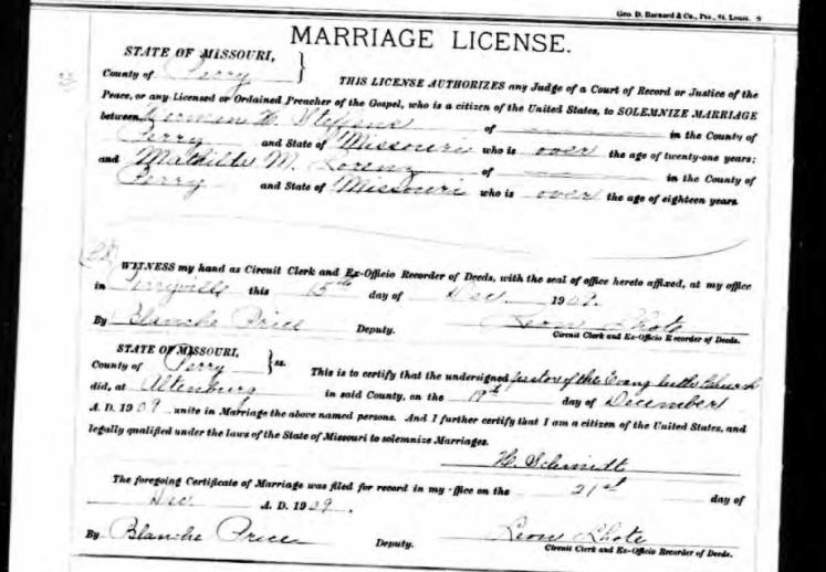 Steffens Lorenz marriage license