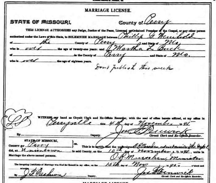 Weinhold Bock marriage license