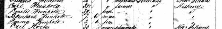Wilhelm Weinhold passenger list 1860