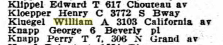 William Kluegel 1916 St. Louis city directory