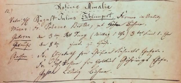 Amalia Schlimpert baptism record Trinity Altenburg MO