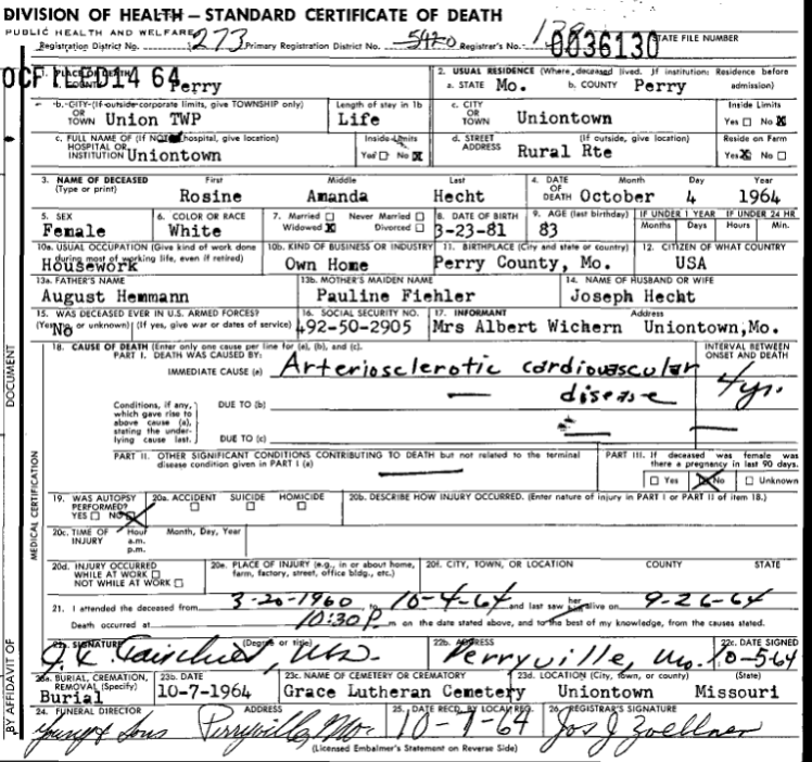 Amanda Hecht death certificate