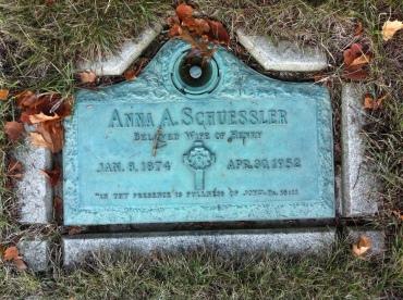 Anna Schuessler gravestone Michigan Memorial Park, Detroit,MI