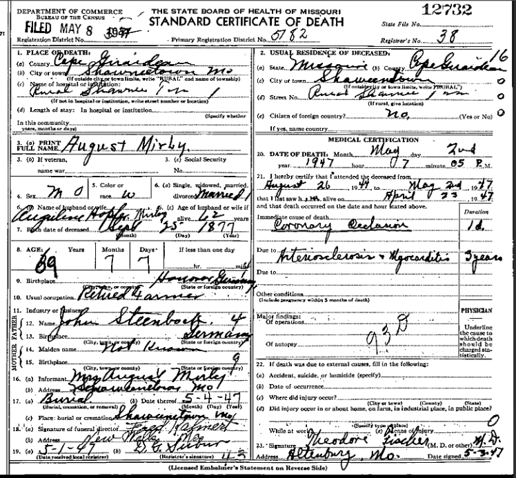 August Mirly death certificate