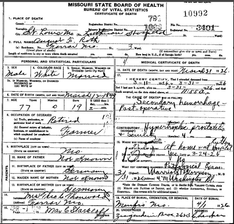 August Roth death certificate