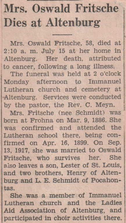 Clara Fritsche obituary