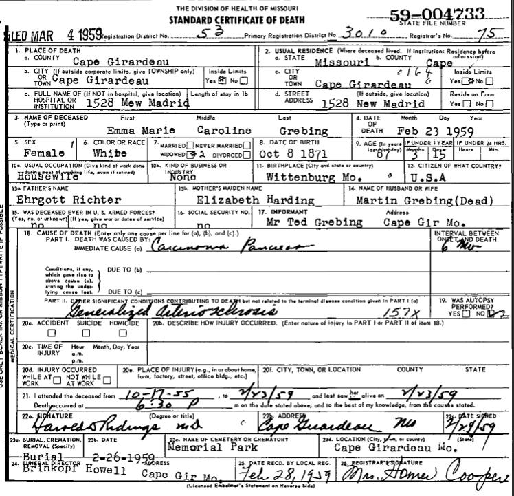 Emma Grebing death certificate