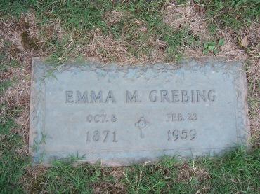 Emma Grebing gravestone Cape Memorial Cape Girardeau MO
