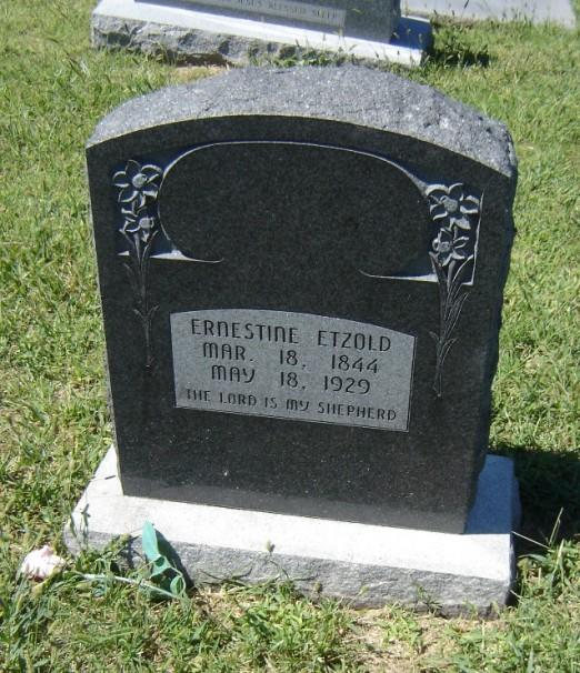 Ernestine Etzold gravestone Bethlehem Sylvan Grove KS